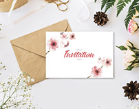 Free Stylish Branding With Flowers Invitation Mockup