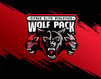 Wolf pack. Logo for sports training center in US