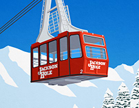 Jackson Hole Vintage Cable Car Poster