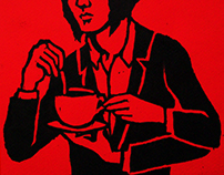 SELF PORTRAIT WITH A CUP OF TEA