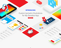Isometric Illustrations for My Ooredoo App 6.0