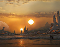 Sunset Modern City in Beach matte painting inspired by