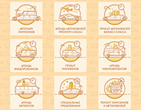 Иконки для сайта Golden Limo. Golden Limo icon set