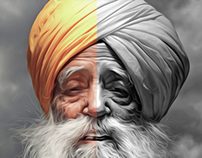 Fauja Singh The Runner oil painting.