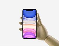 Hand Holding iPhone 11 Pro Max Mockup