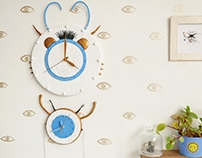 Set of two wall clocks. Insect inspired.