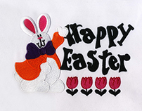 BUNNY RABBIT CELEBRATING EASTER EMBROIDERY DESIGN