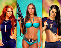 Girls from WWE Female Divas and girl in blue