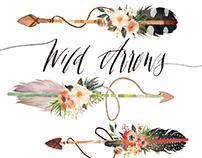 Watercolor wild arrows clip art