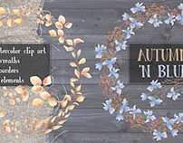 """Autumn 'n Blue"": watercolor clip art"