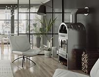 Cozy black living room