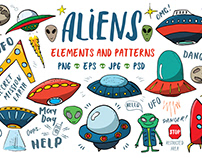 Aliens and UFO Set and patterns