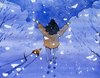 """Illustrations for the """"Yun Chen and the Snowman"""""""