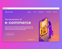 e-Cart e-commerce Landing Page Cover Concept