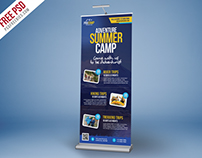 Free PSD : Adventure Summer Camp Roll-Up Banner