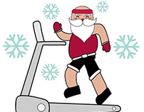 Santa Running Illustration Concept