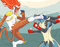 Infernape vs Mega Lucario