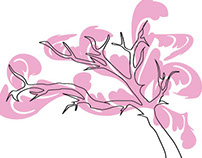 Cherry Blossom Tree Graphic Doodle