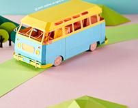 Paper car_ Volkswagenmicrobus
