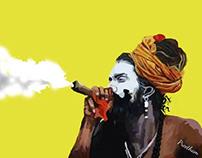 Sadhu smoking chillum (BUM BUM BHOLENATH)