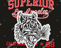 Superior tiger graphic design vector art