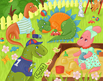 Dinosaurs Children's book illustrations