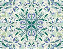 Blue Green floral symmetric tile