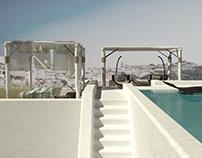 Rooftop pool in Fira, Santorini