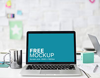 Free mockup: Macbook Pro And A Tea Cup On Office Desk