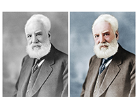 Colorisation of a photograph of Alexander Graham Bell