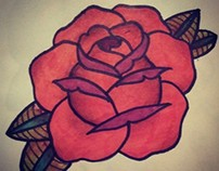 Traditional Rose Tattoo