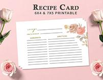 Free Recipe Card Printable Template V1