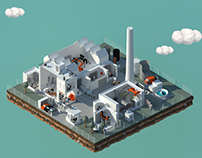 Lowpoly Factory Illustration