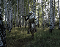 Warrior in forest
