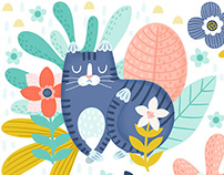 Pastel Cats and Floral Pattern Design
