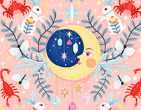 Mystic Moon Pastel Pattern Illustration Collection