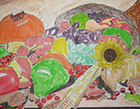 Thanksgiving Cornucopia drawing