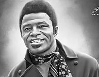 James Brown Digital Oil Style Painting by Wayne Flint