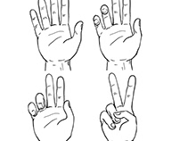Victory or Peace Hand Sign Drawing