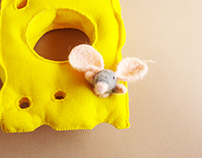 """""""Cheese and mouse"""" textile plush bracelet"""