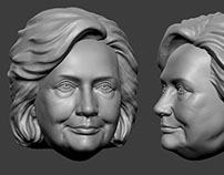 Hillary Clinton. 3D-print-ready model