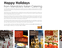 Mandola's Italian Catering's Holiday Promotional Sign