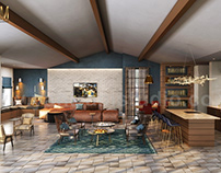 Modern Clubhouse rendering 3D Interior Modeling Ideas