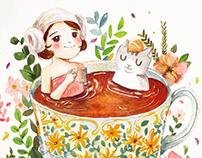 A little girl & cat
