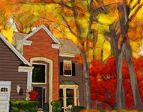 Home Portraits - Digital Watercolors
