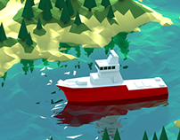 low poly ship scene