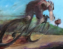 Gravel Rider - detail print of larger painting