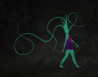 Tentacled head woman walks in the darkness