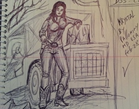 Sexy Cowgirl Kristal by pallominy D33 C2 pen on paper