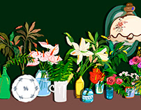 Illustrations for expressing colorful flowers.